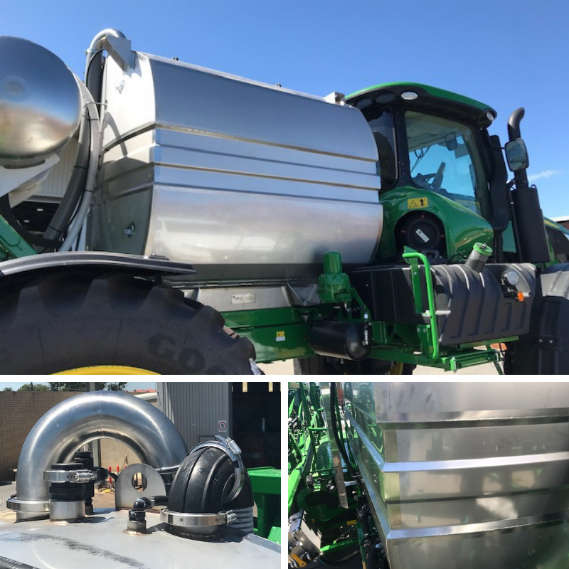 Spray Tank Extensions sitting on a John Deere tractor. Emphasis on secondary breather and tank reinforcement.